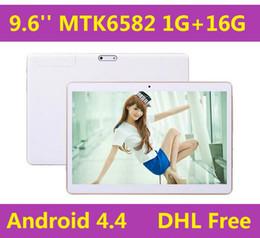 Promotion pouces 1gb Phablet 9,6 pouces double MTK6582 Android 4.4 3G GSM tablette d'appel téléphonique sim 1GB 16GB Quad Core Bluetooth Wifi DHL GRATUIT