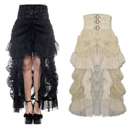 Wholesale NEW Long Black Gothic Steampunk VTG Victorian High Waisted Lace Bustle Skirt