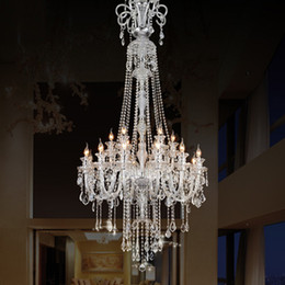 205CM long big chandelier E14 LED lamps modern large luxury crystal chandeliers villa hotel dining room foyer Light double layer 12 bulbs
