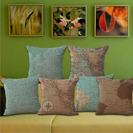 Wholesale Retro Europe Ikea Style Bed Cushion Throw Pillow Case Cover Bench Chair Hotel Room Home World Maps Atlas Pillowcases Pillow Sham