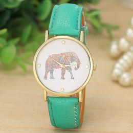 Wholesale 100pcs women elephant design flower printing ladies leather PU wrist watch fashion dress quartz watches
