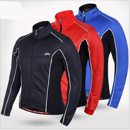 Wholesale Cycling Sleeves Winter Wear - Winter Thermal Fleece Windproof Waterproof Long Sleeve Cycling Jersey Clothing Wear Reflective Cycling Jacket Blue Red Black M-XXL