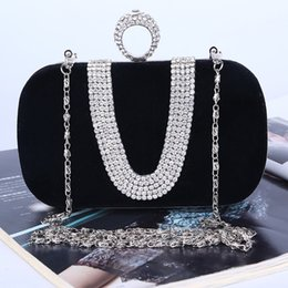 Factory-direct Retaill Wholesale handmade unique diamond evening bag clutch with satin velour for wedding banquet party porm(more colors)