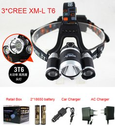 Wholesale Boruit x XM L T6 LED Lm Headlight Lampe Frontale Head Torch HeadLamp Lantern Ac Car Charger V mAh Battery