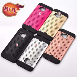 Wholesale Aluminum Hard PC TPU Case Hybrid Dot Mesh Hollow Out For HTC ONE M9 Samsung Galaxy Grand Prime G530 Core G360 G313 S6 EDGE Note Skin