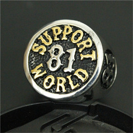 Wholesale 1pc Fast Shipping New Support World Golden Ring L Stainless Steel Man Boy Fashion Band Party Biker Ring