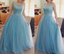 Blue Illusion Fashion Prom Dresses Hot O Neck Beades A-Line Party Dress Sequined Tulle Prom Dress Girl's Graduation Dress
