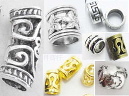 Wholesale dread dreadlock Beads mix Golden plated tibetan gold large hole beads cuff clip free beads gift