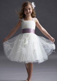 High Quality A Line Knee length Organza Cap Sleeve Short Wedding Flower Girls Dresses Custom Made Cupcake Prom Party Dress For Girls