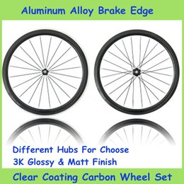 Wholesale New Clear Coating Carbon Bicycle Wheelsets Black Color Aluminum Alloy Brake Edge Surface Road Cycling Bike Parts K Glossy Matt Finish