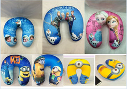 Wholesale Frozen pillows with Elsa Anna OLAF print foam particles toys U shaped neck pillow Despicable Me Minions pillow Cushion