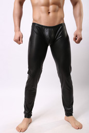 Wholesale Sexiest Mens Costume - Fashion Cockcon Pant Faux leather pants compression tights mens clothing Bodysuit Sexy lingerie For men Latex stage costume performance