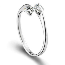 Free shipping new arrival 925 sterling silver ring jewelry simple double diamond single ring open design