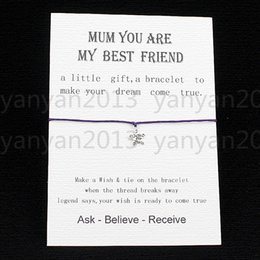 Wholesale Wish String Star Charm Bracelet Mom you are my best frined love card Friendship Mothers Day Valentine s Day greeting card birthday gift