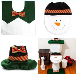 Wholesale 2015 top quality New Best Happy Santa claus toilet cover bathroom sit tank cover bath accessories christmas decoration bano set universal si
