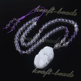 Fashion Natural Druzy Rock Crystal Random Pendant Inlay Rhinestone Amethyst Quartz Rock Crystal Round Gemstone Beads Chain Necklace Jewelry