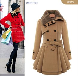 Wholesale 2015 New Winter Coat Women Fashion Double Breasted Thicken Slim Long Style Wool Blends Coats With Belt AE ME