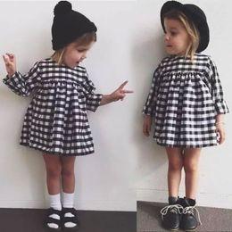 Fashion Kids Girls Plaid Dresses Costume Spring Autumn Baby Long Sleeve Party TUTU Dress Children Rapunzel Clothes Vetement Fille Vestidos