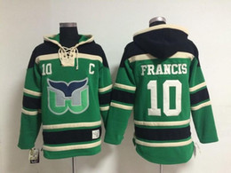2016 New, 2015 New Hartford Whalers #10 Ron Francis Hoodie Sweatshirt Green 100% Stitched Mens Ice Hockey Hoodies Cheap Top Quality 24