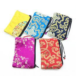 Wholesale Fashion Small Bells Zipper Women Coin Purse Card Holder Reusable Cloth Art Packaging Silk brocade Storage Pouches Bag For Gift