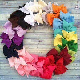 Wholesale 14 STYLE AVAILABLE quot bowknot HairBow Baby Hairbows Baby Girls Headband Hair Bows With Clip Kids Hair Accessories Drop Shipping