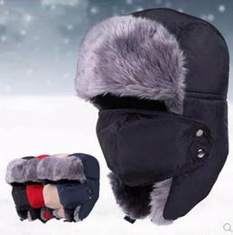 Wholesale Men Warm Trapper Hat Thick Earflap Faux Fur Cap Snow Ski Beanie Hats With Mask Waterproof Headgear Cycling Beanies Winter Outdoor