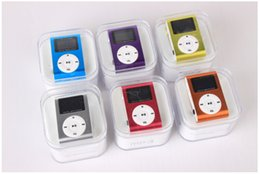 Wholesale MP3 Player Mini Clip Music Player with LCD Screen Support Micro TF SD Memory Card Come With USB Cables Earphones Crystal Retail Box