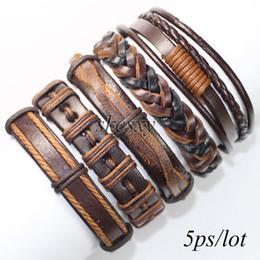 Wholesale cool bangles ethnic tribal genuine adjustable leather bracelet for men WT17