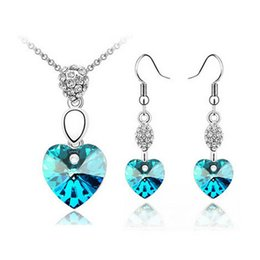 Full Rhinestone Heart Necklace Earrings Sets Fashion Austrian Crystal Jewelry Sets The feeling of the heart Jewelry Sets 1001