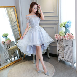 New Elegant Evening Dresses Short Front Long Back Bride Gown Short Sleeve Ball Prom Party Homecoming Graduation Formal Dress