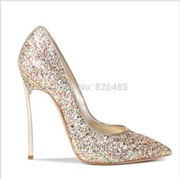 Fashion womens 10cm Stiletto metal high heel sexy wedding shoes,women pumps pointed toe sequined shoes for brides size 33-43