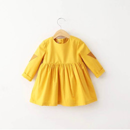Wholesale 2016 Autumn New Girl Dresses Yellow Long Sleeve Fashion Dres Children Clothing T Q051