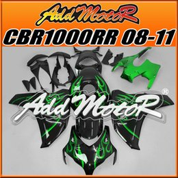 Wholesale Addmotor Injection Mold Aftermarket Fairings Fit Honda CBR1000RR CBR RR Body Kit Green Flames H1807 Five Free Gifts