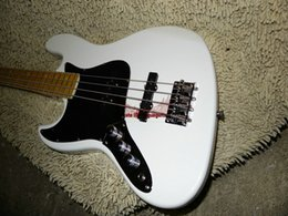 Wholesale Left Handed Bass Guitars White strings Electric Bass Maple fingerboard China guitar OEM Cheap