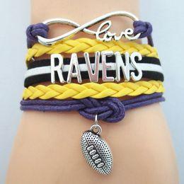 Wholesale Infinity Love Ravens Football Team Bracelet Customize Baltimore Sport wristband friendship Bracelets