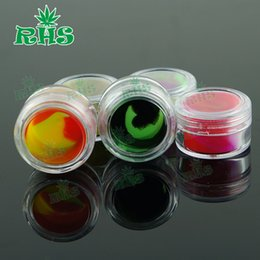 Wholesale 3ml clear acrylic wax concentrate containers Non stick silicone Dab BHO Hash Oil Dry Herb Storage Jars