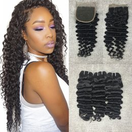 Brazilian Deep Wave Human Hair Weaves Extensions 4 Bundles with Closure Free Middle 3 Part Double Weft Dyeable Natural Color 100g pc
