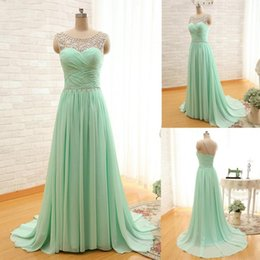 Cheap Custom made Bridesmaid Dresses 2016 Illusion Sheer Jewel A line Pleats Chiffon Party Evening Dress Fashion Party Dress