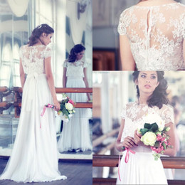 New Arrival 2015 Elegant Wedding Dresses Jewel Neck Short Sleeves Sweep Train Lace Chiffon With Detachable Jacket Bridal Gowns