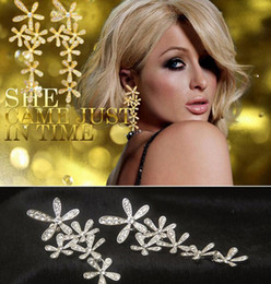 Fashion Gold Silver Crystal Rhinestone Snowflake Falling Earrings Frozen Snow Flower Earrings 925 Silver plating Women Jewelry Free Shipping