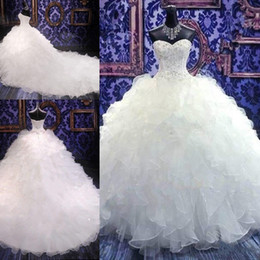 Luxury Ball Gown Wedding Dresses Sweetheart Crystal Beaded Tiered Organza Cathedral Wedding Gowns Plus Size Bridal Dresses Lace Up