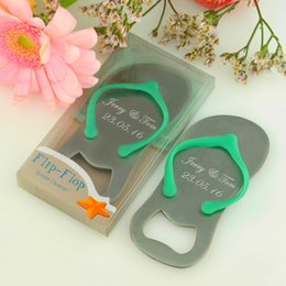 Wholesale 100Pcs Wedding Favor And Gifts Blue Pink Flip Flop Bottle Wine Opener Favours Personalized Wedding Souvenirs For Guests Birthday Party Favor