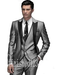 New Arrivals One Button Silver Gray Groom Tuxedos Peak Lapel Groomsmen Best Man Wedding Prom Dinner Suits (Jacket+Pants+Vest+Tie) G5006