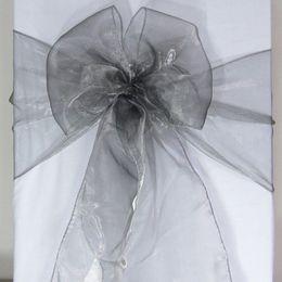 Wholesale 100 Gray Organza Chair Sashes Dark Silver Charcoal Crystal Table Sample Fabric wedding Bow Gift SASH