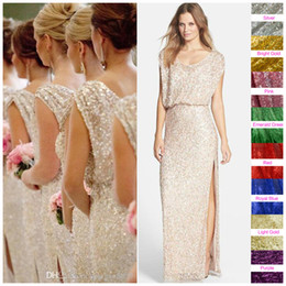 Sequins Rose Gold Long Bridesmaid Dresses Plus Size Split Scoop Champagne Sparkly Maid of Honor Bridal Wedding Party Gowns 2019 Custom Made