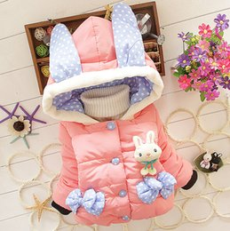 Wholesale Cute Baby Coats For Girls - Winter Little Girls Down Coat Cute Bowknot White Rabbit Cartoon Hooded Outwear For Baby Thicken Keep Warm Children Jackets Fit 1-4Age K795