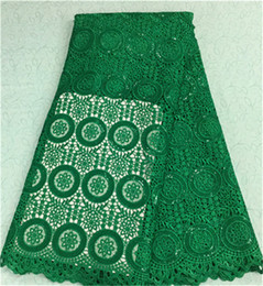 Beautiful green french guipure lace embroidery african water soluble lace fabric with sequins for party BW19-5,5yards pc