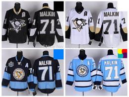 Pittsburgh Penguins Hockey Jerseys #71 Evgeni Malkin Jersey Home Black Road White Alternate Navy Blue Third Light Blue A Patch