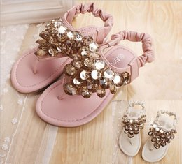 2015 New product Rome wind children shoes beaded sequined girls sandals elastic shoe buckle two colour kids princess sandals 5pair lot GR207