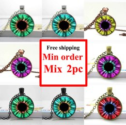 NS--0028 Blue red yellow Cats Eye Necklace - Eye Pendant - Silver Picture Jewelry glass picture photo pendant 8 items for selection